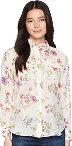 Petite Floral Cotton-Blend Shirt