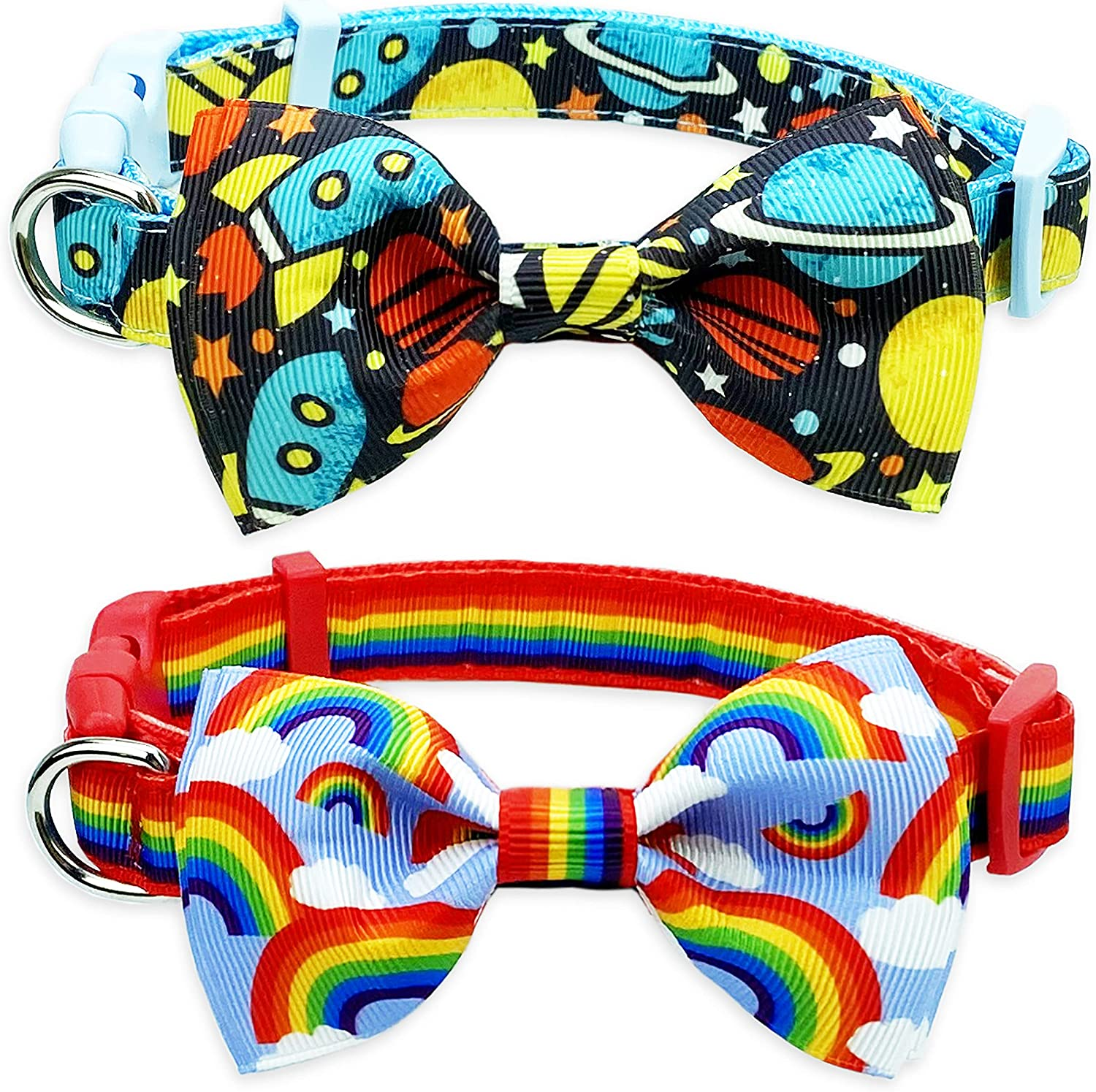 2 Pack Dog 2021 Collar with Bow Tie for Phoenix Mall Rainbow Spaceship and