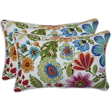 Set Of 4 Indoor Outdoor Pillows 20 Square Throw Pillows 11 X 19 Rectangle Lumbar Decorative Throw Pillows Yellow Orange Blue Pink Bright Artistic Floral Garden Outdoor