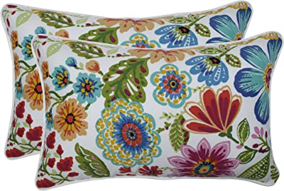 "Pillow Perfect Outdoor/Indoor Gregoire Prima Lumbar Pillows, 11.5"" x 18.5"", Blue, 2 Count"