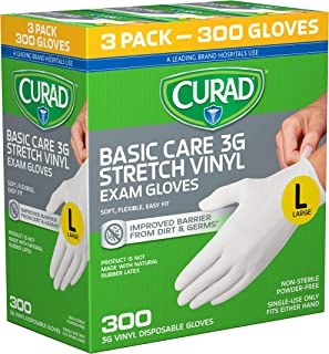 Curad Disposable, Basic Care, 3G Stretch Vinyl, Exam Gloves - Latex Free, Medical Grade, Non-Sterile, Powder Free, Large, 100 Count (Pack of 3)