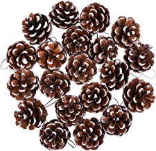 Cooraby 20 Pieces Christmas Pine Cones Pendant Snow Natural Pine Cones Ornament 4 to 6cm PineCones for Christmas Home Than...