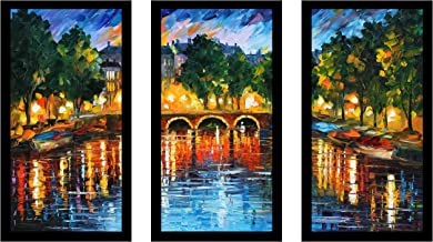 Picture Perfect International Leonid Afremov Amsterdam, The Release of Happiness Framed Plexiglass Art Set of 3 Wall-Decor...