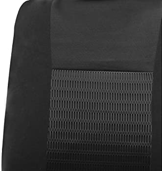 FH Group Universal Fit Full Set Trendy Elegance Car Seat Cover, (Black) (FH-FB060115, Airbag compatible and Split Ben...