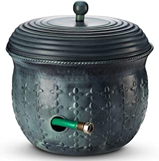 Garden Hose Holder Storage Pot Copper with Lid Antique Green Finish Lattice Steel
