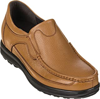 CALTO Men's Invisible Height Increasing Elevator Shoes - Leather Slip-on Lightweight Casual Loafers - 3.2 Inches Taller