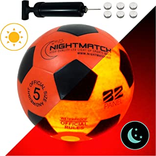 NightMatch Light Up Soccer Ball Flaming Red Edition INCL BALL PUMP and SPARE BATTERIES - Inside LED lights up when kicked - Glow in the Dark Soccer Ball - Size 5 - Official Size & Weight -orange/black