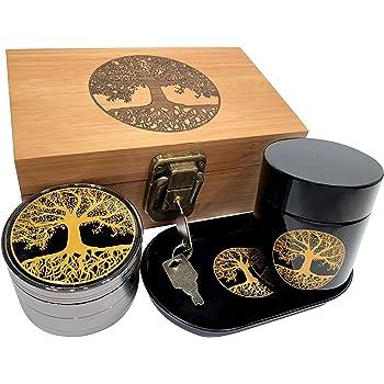 Tree of Life Stash Box Combo - Full Size Bamboo box grinder and jar - Engraved Wood Stash Box (Tree of Life)