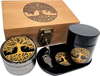 Tree of Life Stash Box Combo - Full Size Bamboo box grinder and jar - Engraved Wood Stash Box (Tree of Life)