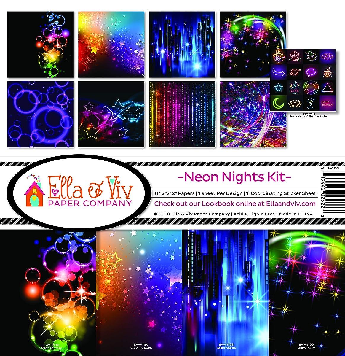 Ella & Viv by Reminisce EAV-1201 Neon Nights Scrapbook Collection Kit, Multi Color Palette