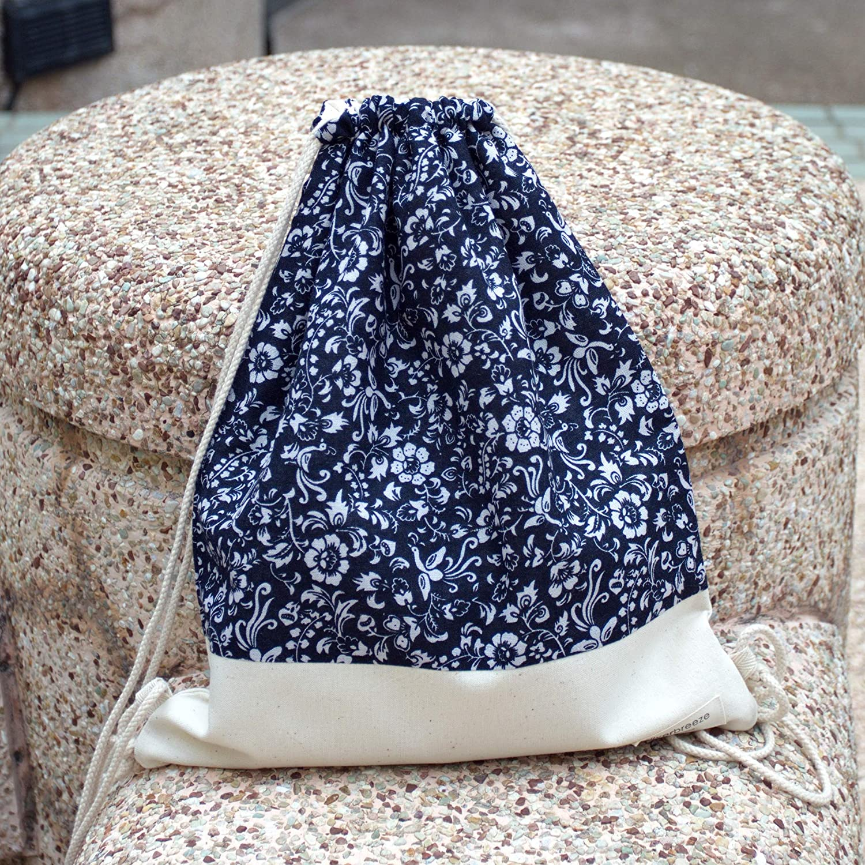 Drawstring backpack Cotton Gym Max 51% OFF handmade Bargain bag
