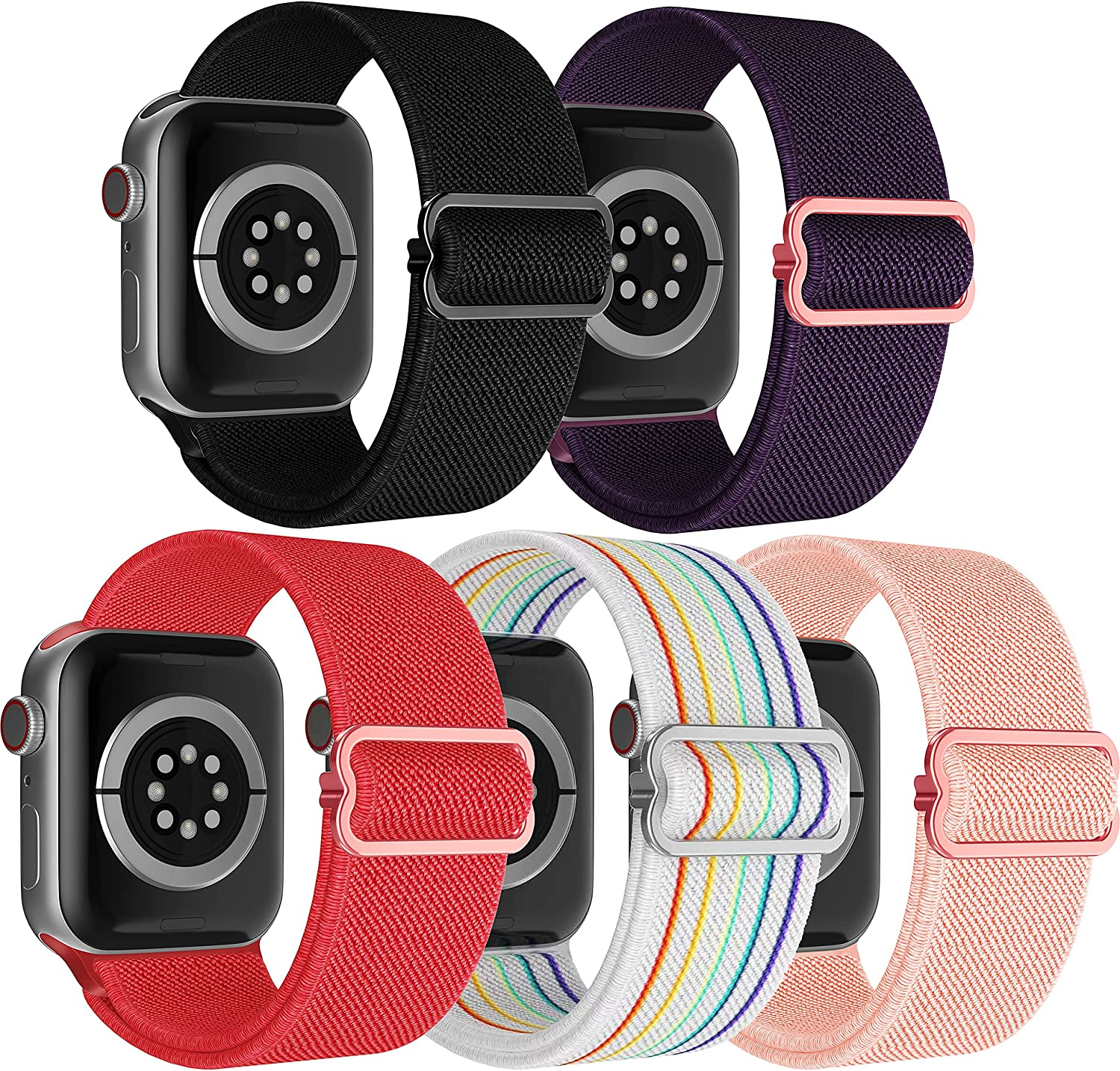 PITIKAI 5 Packs Stretchy Nylon Solo Loop Bands Compatible with Apple Watch Bands 38mm 40mm 42mm 44mm Women Men, Adjustable Braided Sport Elastics Wristband for iWatch Series 6/5/4/3/2/1/SE