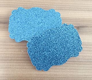 50 Blank Turquoise Glitter Scalloped Edge Bracket Hang Tags Tag - Baby Girl Birthday Wedding Party Card