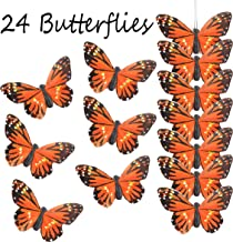 Touch of Nature 24 Piece Natural Orange Monarch Butterfly on a Clip - Arranging Supplies - Floral Decor - Spring Decor - Wreath Accents - Feather Butterfly - Craft Projects