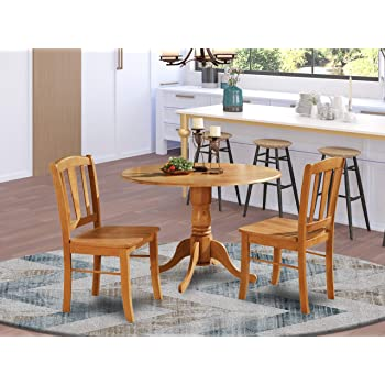 Amazon Com Dlin3 Oak W 3 Pc Kitchen Table Set Kitchen Dining Nook And 2 Dinette Chairs Chairs Furniture Decor