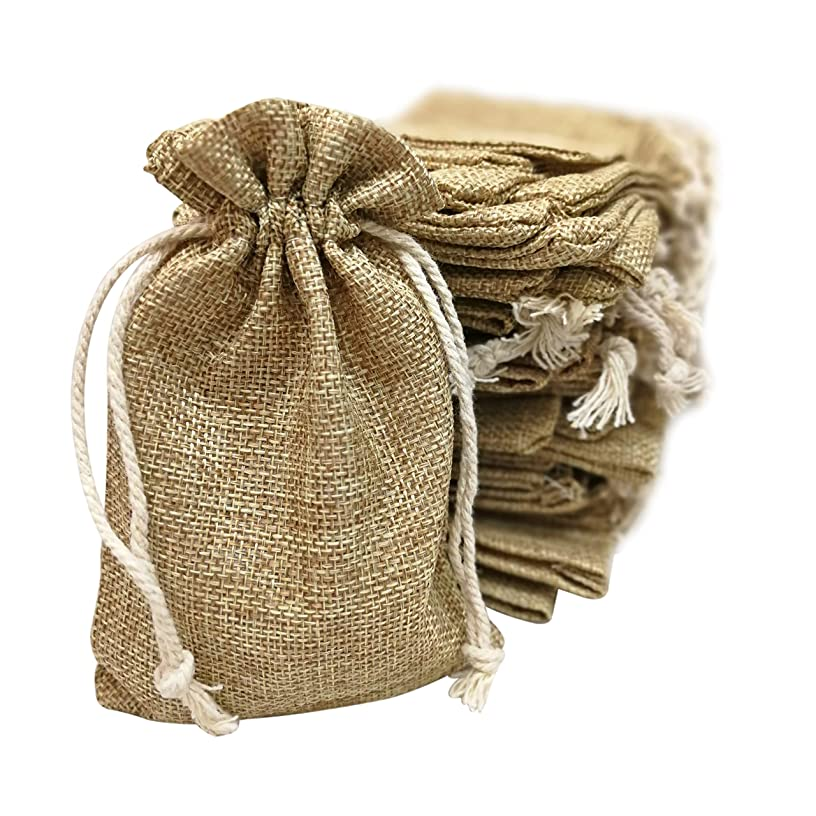 50 Small Burlap Bags with Drawstring, 4x6 Inch Gift Bag Bulk Pack - Wedding Party Favors, Jewelry and Treat Pouches