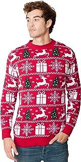 New Camp Ltd Christmas Xmas 2018 Mens Jumper Novelty Fairisle Santa Party Sweater Jumper Womens Unisex Fairisle RED Exclus...