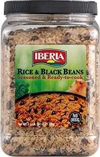Iberia Rice & Black Beans, 3.4 Lb, Completely Seasoned & Ready to Cook, Nutritious & Delicious, Low Fat, High Taste