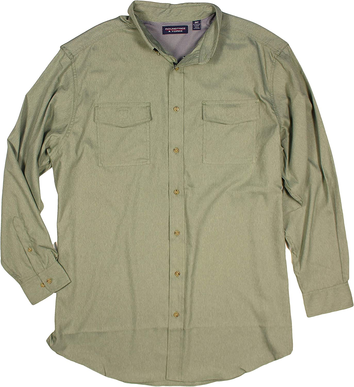 Roundtree & Yorke Men's Big Tall Vented Fishing Wicking UPF 50 Long Sleeve Shirt