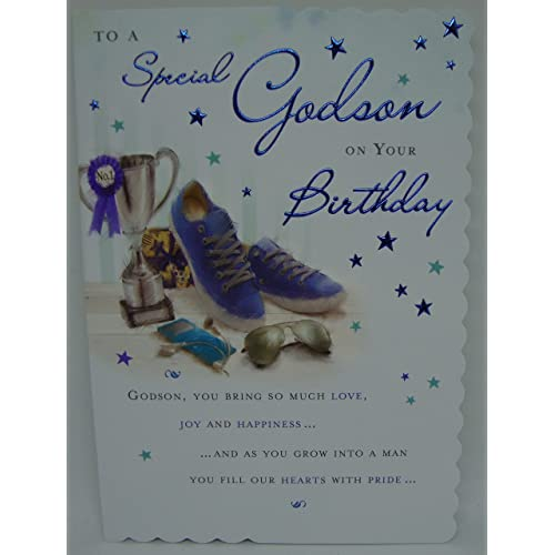 To A Special Godson Birthday Card Trophy Phone Design