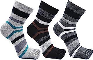 Teenloveme, Calcetines de 3 Dedos para Hombres para Deportes Ciclismo Correr, Hombre Calcetines del dedo del pie, Calcetines Dedos de Pies Separados, 3 pares (Multicolor-3 pares)