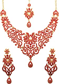Indian Bollywood Traditional Royal Look Attractive Filigree Carving Rhinestone Grand Bridal Designer Jewelry Necklace Set for Women