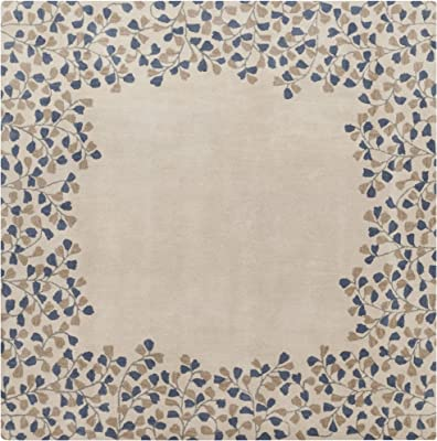 Surya Athena ATH-5117 Hand Tufted Wool Square Solids and Borders Area Rug, 6-Feet