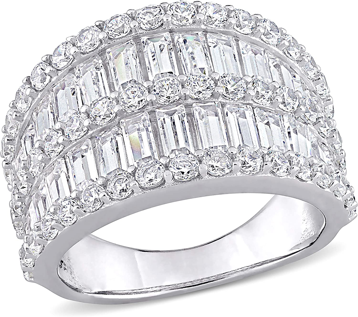 Abbie+Cleo Baguette and Round Cubic Row Rin Double Band Zirconia Long-awaited OFFicial shop