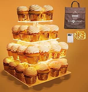 Jusalpha 4 Tier Square Cupcake Stand - Premium Cupcake Holder - Acrylic Cupcake Tower - Ideal for Weddings Birthday Parties, Candy Bar Decor (LED Light Option: Battery, 4 Tier)