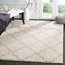 Safavieh Dallas Shag Collection SGD257P Ivory and Light Pink Area Rug (4' x 6')