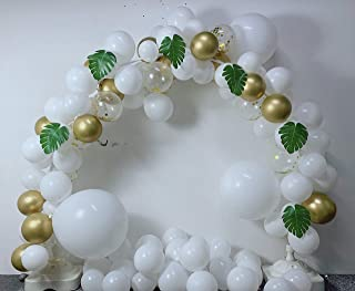 Graduation 2020 White Balloon Arch Kit with Gold Metallic Ballon & Gold Confetti Balloon,Green Palm Leaves, Balloon Pumb for Christmas 2020 New Year Wedding Birthday Bachelor Bridal Graduation Party