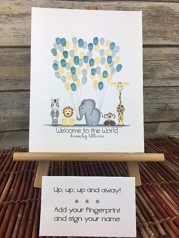 Customizable Jungle Safari Animal Fingerprint Guest Book Alternative With Jungle Animals Holding Balloon Strings