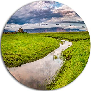 Designart Fantastic River on Mountains Iceland Landscape Metal wall Art - Disc of 23, 23X23-Disc of 23 inch, Green