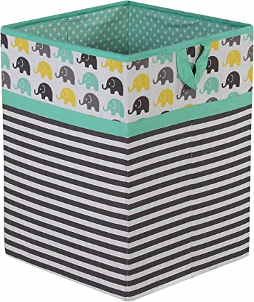 featured product Bacati Elephants Unisex Fabric Collapsible Hamper,  Mint/Yellow/Grey