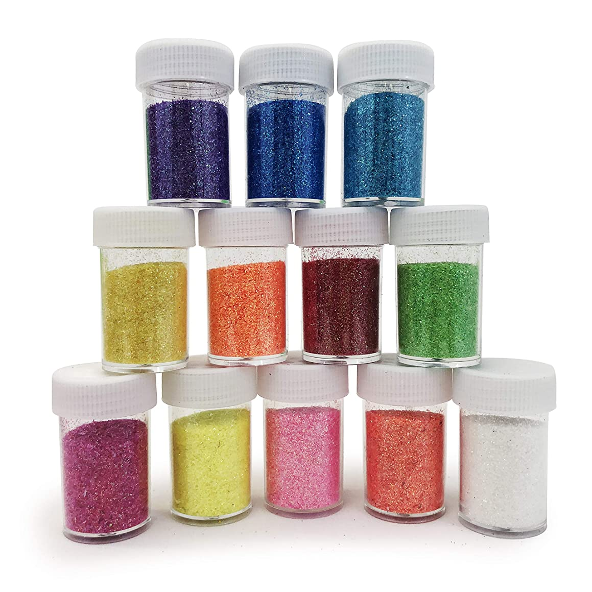 Allgala 12 Assorted Color Fine Glitter Shake Jars for for Arts and Crafts Painting Scrapbook Makeup Slime Party Supply
