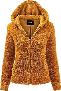 FASHION BOOMY Women's Oversized Shearling Teddy Bear Jacket - Faux Fur Hoodie Zip Up - Regular and Plus Sizes
