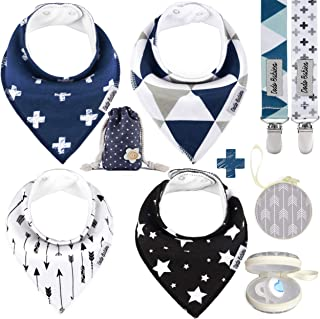 BabyBandana DroolBibs by Dodo Babies + 2 Pacifier Clips + Pacifier Case in a Gift Bag, Pack of 4 Premium Quality for Boy...