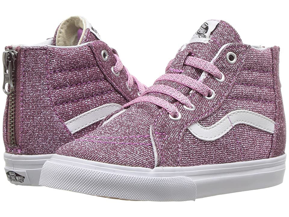 Vans Kids Sk8-Hi Zip (Infant/Toddler) ((Lurex Glitter) Pink/True White) Girls Shoes