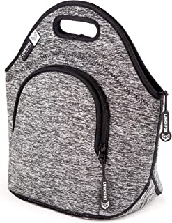 Insulated Lunch Bags for Women/Men by LunchFox - 'The Silver Lake' Heather Grey Melange - (The Original) Ultra Thick Neoprene Lunch Bag/Tote - The Adult 'Lunch Box' for Work, Play & Adventure