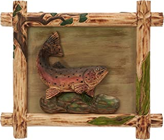Rainbow Trout Wooden Frame 3D Wall Art Sculpture Figurine. Hand Carved & Made 100% Solid Pine Wood.