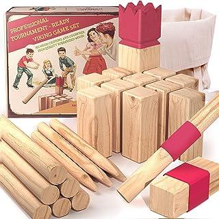aGreatLife Premium Rubberwood Viking Games   Kubb Yard Game Set - Fun Outdoor Yard Games for All Ages Throwing Game   Jumb...