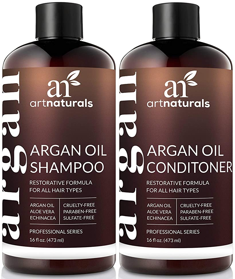 ArtNaturals Organic Moroccan Argan Oil Shampoo and Conditioner Set - (2 x 16 Fl Oz / 473ml) - Sulfate Free - Volumizing & Moisturizing - Gentle on Curly & Color Treated Hair - Infused with Keratin mpmwdctv105