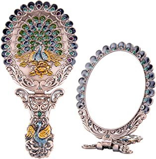 Nerien Women's Vintage Foldable Metal Antique-Style Floral Phoenix Russian Style Vanity Mirror Cosmetic Purse Mirror Portable Handle Mirror Copper