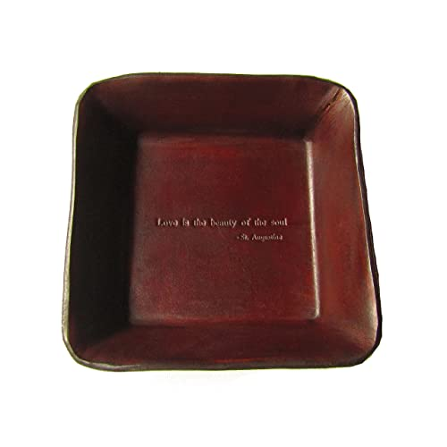 555fa4b8ccc8 Twin Saints Brown Leather Third Anniversary Valet. St. Augustine Quote  Inscribed Leather Desk Tray
