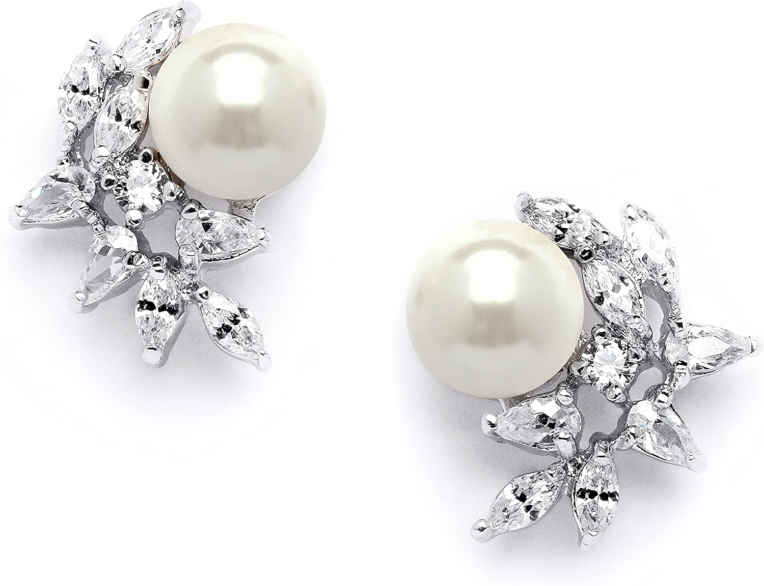 Mariell Ivory Pearls  CZ Cluster Clip On Wedding Earrings for B