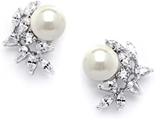 Ivory Pearls and CZ Cluster Wedding Earrings for Brides, Bridesmaids & Mother of the Bride
