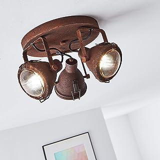 Lámpara de techo (3 focos, 3 bombillas GU10 máx. 7 W, metal y cristal), color rojo y negro