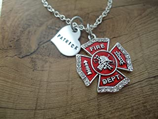 Personalized Firefighter Necklace with name heart and Fireman Maltese Cross - I love my Firefighter
