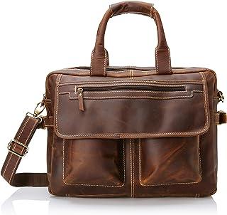16 inch Vintage Buffalo Leather Messenger Satchel Laptop Briefcase Men`s Bag Crazy Vintage Leather Messenger (Brown)