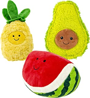 Giftable World Metropawlin Pet 7 Inch Plush Pet Toy 3 Assorted Fruits with Squeakers Dog Chew Toy